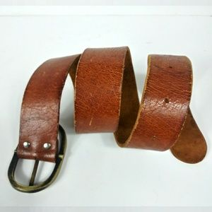 """Vintage Leather Belt with Solid Metal Buckle 34.5"""""""